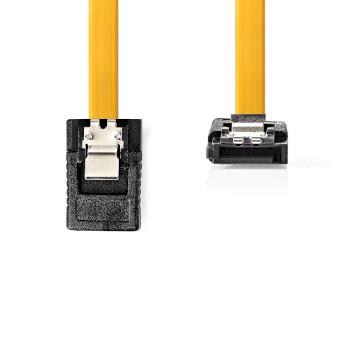 Cavo dati SATA 6 Gb/s | SATA a 7 pin femmina con blocco - SATA a 7 pin femmina con angolo a 90° e blocco | 0,5 m | Giallo