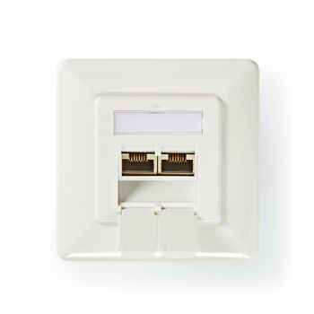 Network Wall Box | Cat 6a | 2x RJ45 Female - Flat Face Mounting | Ivory