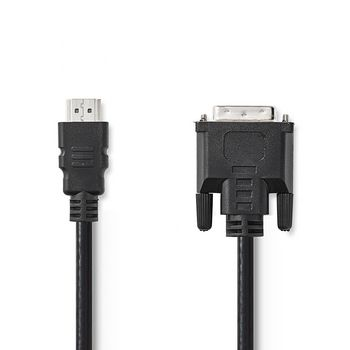 HDMI™ - DVI-Kabel | HDMI™-Connector | DVI 24+1-Pins Male | 2,0 m | Zwart