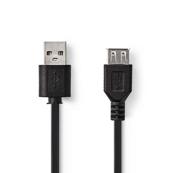 USB 2.0 Cable | A Male - USB A Female | 2.0 m | Black