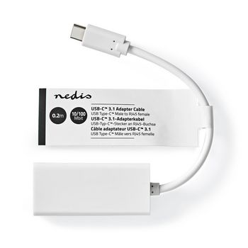 Nedis USB 3.2 Gen 1 Adapter Cable | Type-C™ Male - RJ45 Female | 100 Mbit | 0.2 m | White