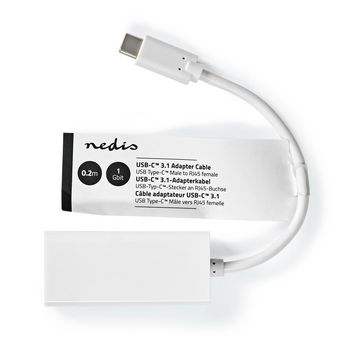 Nedis USB-C™-adapterkabel | Type-C™ Male - RJ45 Female | 1 Gbit | 0,2 m | Wit