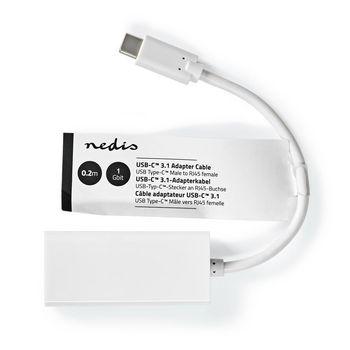 Câble Adaptateur USB 3.2 Gen 1 Nedis | Type-C™ Mâle - RJ45 Femelle | 1 Gbit | 0,2 m | Blanc