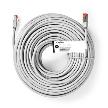 CAT6-kabel | RJ45 | RJ45 | S/FTP | 30.0 m | Rond | PVC | Grijs | Label