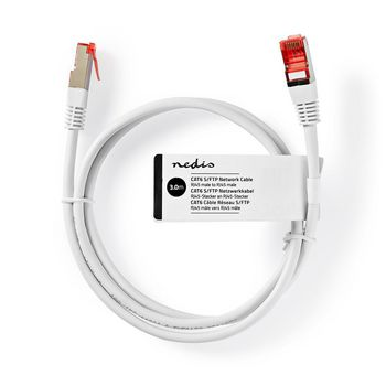 Cable de Red | RJ45 (8P8C) Macho | RJ45 (8P8C) Macho | S/FTP | 3.00 m | Redondo | PVC | Blanco | Bulk