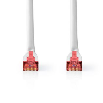 CAT6-kabel | RJ45 (8P8C) Male | RJ45 (8P8C) Male | S/FTP | 5.00 m | Rond | PVC | Wit | Label