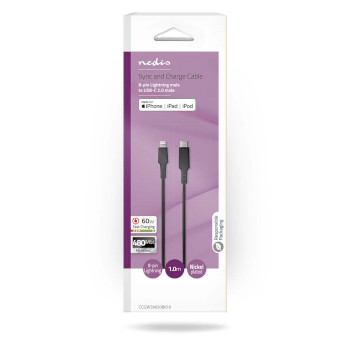 Apple Lightning Cable | Apple Lightning 8-Pin Male - USB-C™ | 1.0 m | Black