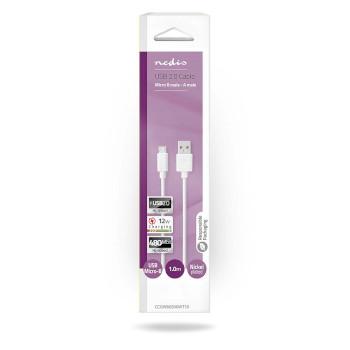 Câble USB 2.0 | A Mâle - Micro B Mâle | 1,0 m | Blanc