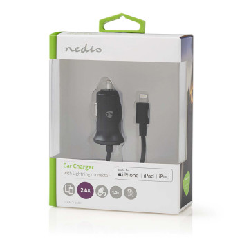 Car Charger | 2.4 A | Fixed Lightning cable | Apple MFi Certified | Black