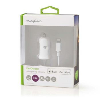 Car Charger | 2.4 A | Fixed Lightning cable | Apple MFi Certified | White