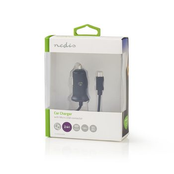 Car Charger | 2.4 A | Fixed cable | Micro USB | Black