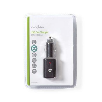 Car Charger | 1.0 A | 2-Outputs | USB | Black