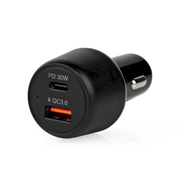 Car Charger | 3.0 A | USB (QC 3.0) / USB-C | Power Delivery 30 W | Black