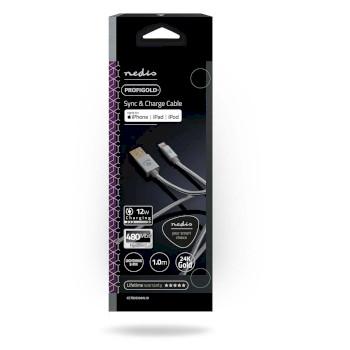Câble de Synchronisation et de Charge | 1,0 m Plaqué Or | USB-A Mâle vers Câble Lightning Mâle 8 Broches | Compatible avec les Appareils Apple