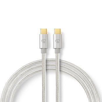 Nedis USB 2.0 Kabel for Synkronisering, Lading & og AV-Støtte | USB-C™ Hann til USB-C™ Hann | 5A - 100W | Gullbelagt | 2,0 m | Rund | Flettet | Sølv | Vindusboks