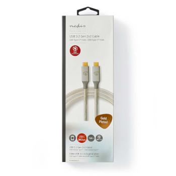 USB-Kabel | USB 3.2 Gen 2x2 | USB Type-C™ Male | USB Type-C™ Male | 20 Mbps | 100 W | Verguld | 1.00 m | Rond | Gebreid / Nylon | Zilver | Cover Window Box