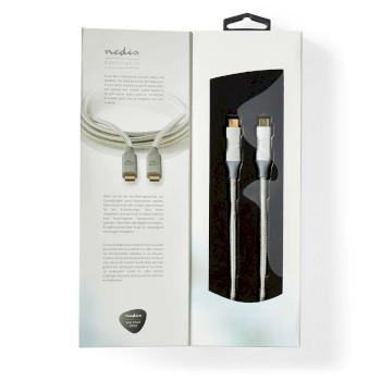 USB-Kabel | USB 3.2 Gen 2x2 | USB-Typ-C ™ Stecker | USB-Typ-C ™ Stecker | 20 Gbps | 100 W | Vergoldet | 2.00 m | rund | Geflochten / Nylon | Silber | Verpackung mit Sichtfenster