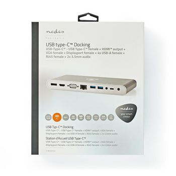 USB Type-C -Moniporttinen Telakka | Type-C Uros - 4 x USB 3.0 A, Naaras + HDMI™-lähtö + VGA, Naaras + DisplayPort, Naaras + RJ45 (8P8C), Naaras + USB Type-C, Naaras | 0,2 m | Alumiini