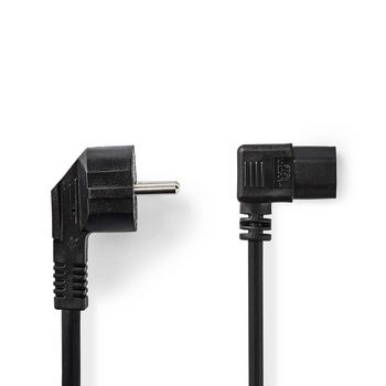 Power Cable | Schuko Male Angled - IEC-320-C13 Angled | 5.0 m | Black