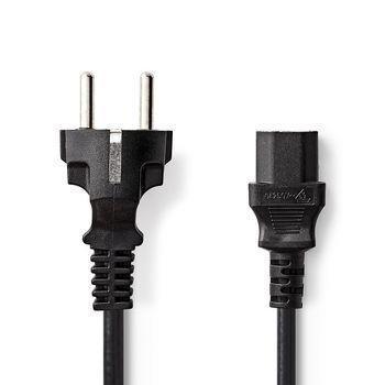 Stroomkabel | Schuko Male | IEC-320-C13 | 2,0 m | Zwart