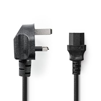 Power Cable | Type G Plug (UK) | IEC-320-C13 | 2.0 m | Black