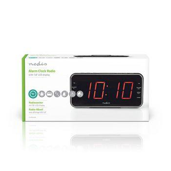 "Digital Alarm Clock Radio | 1.8"" LED | FM | 20 Presets | Snooze"