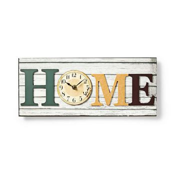 Wooden-Style Wall Clock in Frame | 'HOME' Design