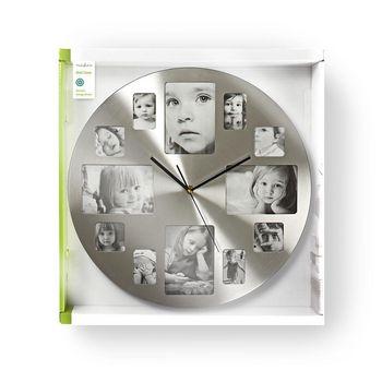 Circular Wall Clock | 40 cm Diameter | Photo Frame | Silver