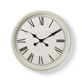 Circular Wall Clock   50 cm Diameter   Antique-Style   White