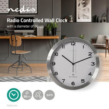 Radio-Controlled Wall Clock | 30 cm | White