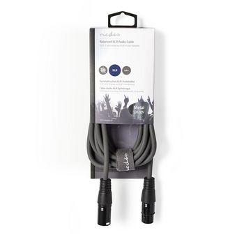 Balanced XLR Audio Cable | XLR 3-Pin Male - XLR 3-Pin Female | 3.0 m | Grey