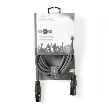 Balanced XLR Audio Cable | XLR 3-Pin Male - XLR 3-Pin Female | 5.0 m | Grey