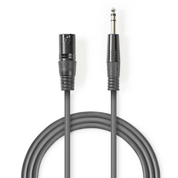 Balanced XLR Audio Cable | XLR 3-Pin Male - 6.35 mm Male | 1.5 m | Grey