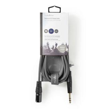 Balanced XLR Audio Cable | XLR 3-Pin Male - 6.35 mm Male | 3.0 m | Grey