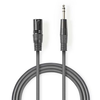 Balanced XLR Audio Cable | XLR 3-Pin Male - 6.35 mm Male | 5.0 m | Grey