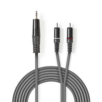 Stereo Audio Cable | 3.5 mm Male - 2x RCA Male | 1.5 m | Grey