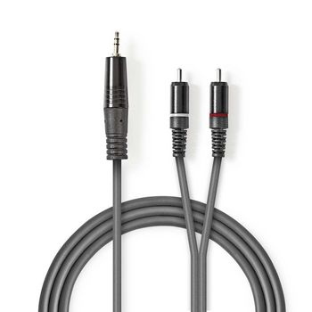 Stereo Audio Cable   3.5 mm Male - 2x RCA Male   3.0 m   Grey