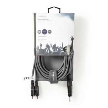 Stereo Audio Cable | 3.5 mm Male - 2x RCA Male | 5.0 m | Grey