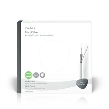 Coax Cable | RG59U | 50.0 m | Gift Box | White