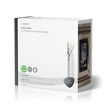Coax Cable | 4G / LTE-Proof | 50.0 m | Gift Box | White