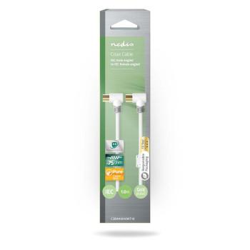 Coaxkabel 100 dB | IEC (Coax) Male Gehoekt - IEC (Coax) Female Gehoekt | 1,0 m | Wit