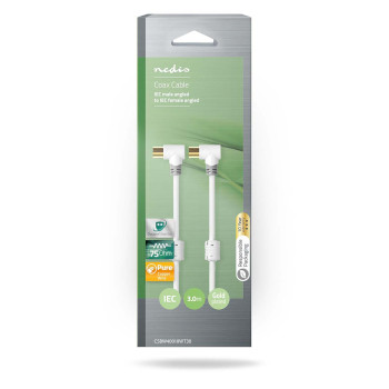 Coax Cable 100 dB   IEC (Coax) Male Angled - IEC (Coax) Female Angled   3.0 m   White