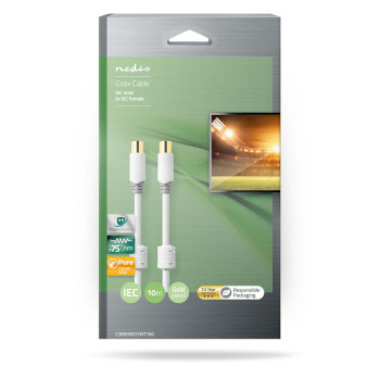 Coax Cable 100 dB | IEC (Coax) Male - IEC (Coax) Female | 10.0 m | White