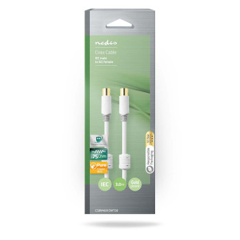 Coax Cable 100 dB | IEC (Coax) Male - IEC (Coax) Female | 3.0 m | White