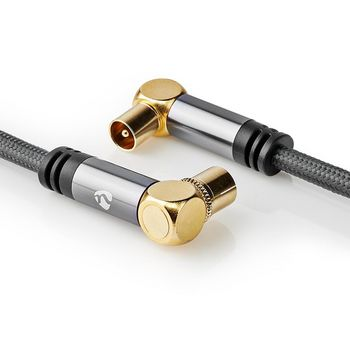 Coaxial Cable 100 dB | IEC (Coaxial) Male - IEC (Coaxial) Female | Gun Metal Grey | Braided Cable