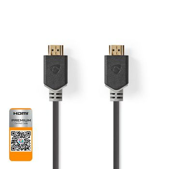 Premium High Speed HDMI™ Cable with Ethernet | HDMI™ Connector - HDMI™ Connector | 1.00 m | Anthracite