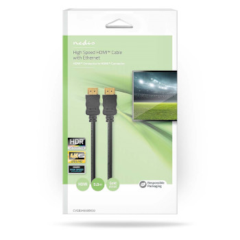 High Speed HDMI™ Cable with Ethernet | HDMI Connector - HDMI Connector | 5.0 m | Black