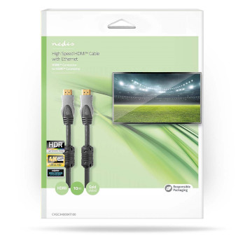 High Speed HDMI™-Cable Ethernet | HDMI™-connector - HDMI™-connector | 10.0 m | Anthracite