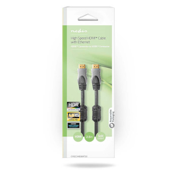 High Speed HDMI™-Cable Ethernet | HDMI™-connector - HDMI™-connector | 2.50 m | Anthracite