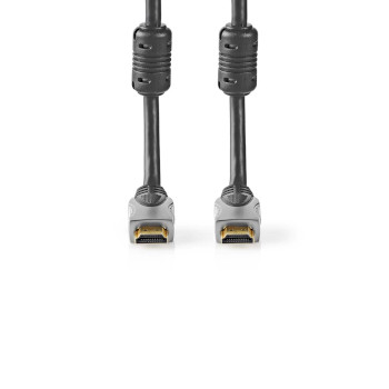 High Speed ​​HDMI ™ kabel med Ethernet | HDMI ™ -kontakt | HDMI ™ -kontakt | 4K@60Hz | 18 Gbps | 5.00 m | Rund | PVC | Sort | Muslingskjell